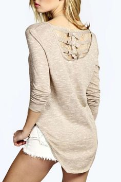 Long Sleeve Lace Spliced High Low T-Shirt