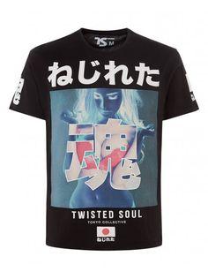"""ねじれた魂 """"Twisted Soul"""". This is Blue Inc's T-shirt, not Superdry."""