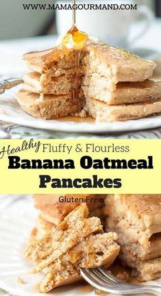 Fluffy Flourless Banana Oatmeal Pancakes mix up quickly in a blender or bowl, have a tender, light oat texture, and are naturally gluten free. This recipe uses no flour and only a few more ingredients than 3 ingredient pancakes. They are just as easy to throw together, but have the look and taste of REAL pancakes. #healthy #easy #blender #glutenfree https://www.mamagourmand.com