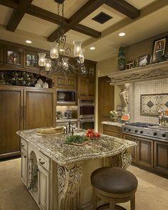 Rustic Elegance by Calvis Wyant Luxury Homes Do this to my kitchen ceiling! Elegant Kitchens, Beautiful Kitchens, Cool Kitchens, Dream Kitchens, Custom Built Homes, Custom Home Builders, Rustic Kitchen, Kitchen Decor, Kitchen Ideas