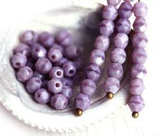 4mm glass beads  Light Purple  czech beads faceted by MayaHoney