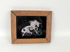 Vintage 70s Glitter Unicorn Wall Picture Wood Frame Glitter | Etsy Glitter Art, Silver Glitter, Vintage 70s, Vintage Shops, Unicorn Wall, Vintage Sewing Patterns, Picture Wall, Unicorns, Black Backgrounds