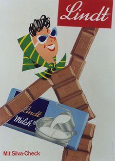 Affiche ancienne Lindt #vintage #Lindt #chocolat