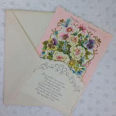 Vintage Valentine's Day Card Stand Up For You Honey Floral Boquet Roses Violets