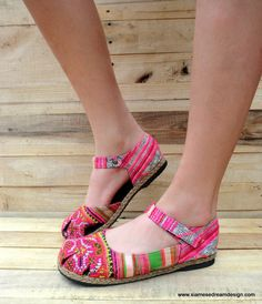 Hmong Embroidered Mary Jane Espadrille Pink by SiameseDreamDesign, $42.00
