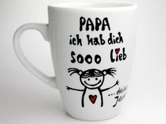 Dad I love you sooo mug with cartoon girl, personalized father gift mug with your child& name Funny Gifts For Dad, Gifts For Father, Cartoon Kids, Girl Cartoon, Love Gifts, Gifts In A Mug, Gift Logo, Easter Gifts For Kids, Porcelain Mugs