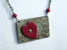 Etched Nickel Silver Rectangle Pendant Red Enamel Heart Necklace Floral Jewelry