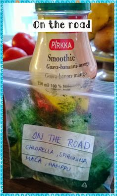 On the road superfood smoothie: measure your superfood set in a small plastic bag (f.e. 0,5 tsp chlorella, 0,5 tsp spirulina, 1 tsp maca, 1 tsp hemp), buy a normal smoothie from a store, mix together and enjoy.