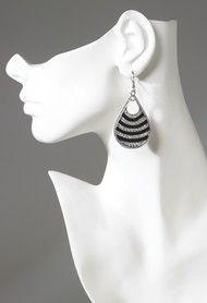 Enamel and Rhinestone Teardrop Earring