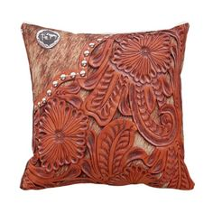 Western Tooled Leather Look Throw Pillow