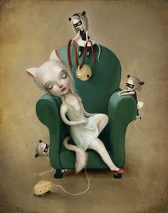 Belling the cat PRINT - bell the cat art girl with cat ears mouse girls inner strength - fable art by Meluseena --- Fables D'esope, Bell The Cat, Frida Art, Mark Ryden, Cat Art Print, Catgirl, Lowbrow Art, Art Mural, Wall Art