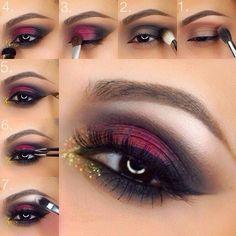 Maquillaje de ojos para noche en color rojo con negro