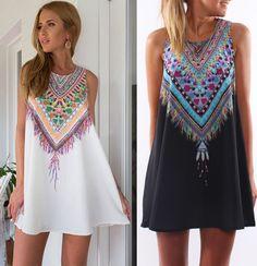 2016 сексуальных женщин летние свободного покроя boho макси ну вечеринку вечернее платье мини пляж цветочные платья платья без рукавов свободного покроя бесплатная доставка купить на AliExpress
