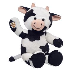 This udderly adorable furry friend is the happiest cow in the herd! Cuddly Cow is a smiley farm animal with soft black and white fur. Personalize your cow stuffed animal with outfits, sounds and accessories to make it your own! Happy Cow, Puppy Day, Cute Stuffed Animals, Cute Plush, Build A Bear, Cow Print, Cute Stickers, Pet Shop, Teddy Bear
