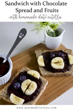 Perfect breakfast, lunch, snack or supper sandwiches for kids. Healthy and fit with homemade nutella made with dates and cocoa. Nutella Brownies, Sandwiches, Chocolate Spread, Perfect Breakfast, Kakao, Cute Food, Food Styling, Food Art, Cocoa
