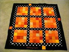 This would be adorable as a baby quilt.. Orange Quilt, Fall Quilts, Quilting For Beginners, Mini Quilts, Scrappy Quilts, Square Quilt, Polka Dot Quilts, Tablerunners, Quilting Board