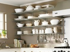 Charming Kitchen Wall Ideas - First-Class Kitchen Interior Ideas. Kitchen Organization, Kitchen Storage, Organization Ideas, Organized Kitchen, Storage Ideas, Metal Kitchen Shelves, Kitchen Organizers, Storage Systems, Storage Units