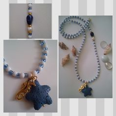 Long Blue and Mat White Beachwear Necklace with Lava Starfish, Gold Plated Sea horse, a Pearl and a Blue Bead by Be Serendipity!