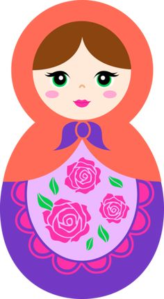 Cute Orange and Purple Matryoshka Doll - Free Clip Art
