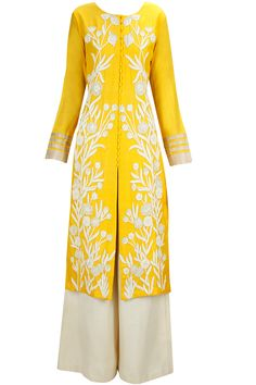 Lime yellow zardozi embroidered straight kurta set available only at Pernia's Pop-Up Shop.