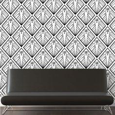 Tapeta ATADesigns Geometric - medaliony Art Deco na czarno - białej tapecie. Propozycja do nowoczesnych wnętrz w klimacie Art Deco.