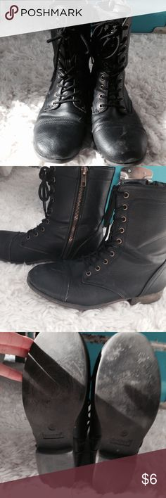 Classic Black Combat Boots They go with absolutely everything. Pair with shorts, dresses, or jeans! Soft inside with light fuzzy lining. Faux leather. Good condition with small scuffs on the front (last photos).🌻 Shoes Combat & Moto Boots