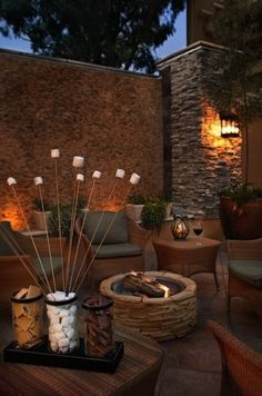 Outdoor #fireplace with #delicious looking #smores presentation