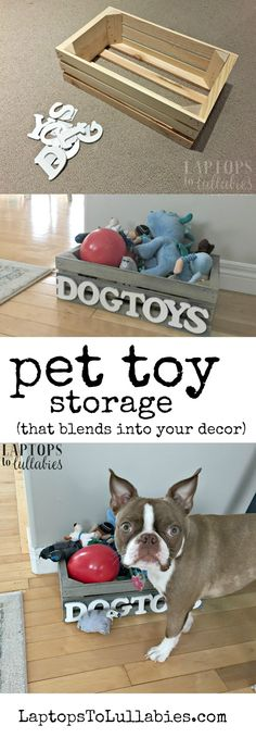 Just a quick DIY today, guys! I wanted to share the pet toy storage solution I came up with for our Chocolate Boston Terrier, Annabelle, and her many, MANY toys. We'd been using a nice dark wicker basket but she occassionally chewed on it...