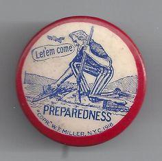 1898 Spanish American War Era Uncle Sam Image Preparedness Patriotic Button