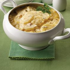 Slow Cooked Scalloped Potatoes  1 (10 3/4-ounce) can condensed cream of chicken soup 1 cup Land O Lakes® Half & Half or Fat Free Half & Half 1 large (3/4 cup) onion, finely chopped 1 rib (1/2 cup)  celery, finely chopped 3 tablespoons chopped fresh parsley 1/2 teaspoon salt 1/4 teaspoon pepper 3 pounds Yukon gold potatoes, peeled, thinly sliced 1 tablespoon Land O Lakes® Butter, melted 1/2 pound sliced Land O Lakes® Deli American, cut into strips  Spray 4- to 5-quart slow cooker with ...