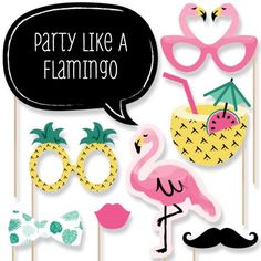 Flamingo - Party Like a Pineapple - Photo Booth Props Kit - 20 Count - Walmart.com