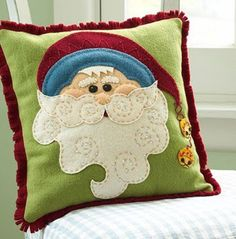 Jolly Santa Claus Pillow: Jolly Santa Claus Pillow Get ready for Santa Claus by making this Christmas pillow bearing the jolly guy's likeness. Christmas Cushions, Christmas Pillow, Felt Christmas, Homemade Christmas, Christmas Ornaments, Christmas Projects, Holiday Crafts, Christmas Ideas, Holiday Decor