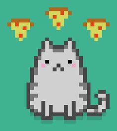cat pizza pixel art cats and pizza queeixelart Pixel Art, Pixel Drawing, K Crafts, Pizza Cat, Iron Beads, Art Birthday, Cat Gif, Game Design, Cute Art