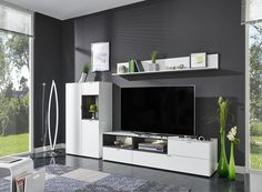 Arte-M Chase TV unit and storage system in anthracite with oak detail