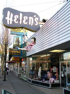 Helen's swinging girl neon sign on Hastings Street in Burnaby, British Columbia, Canada. Vintage Signs, Vintage Images, Wear Store, Old Signs, Urban Life, Most Beautiful Cities, Advertising Signs, Local History, Built Environment