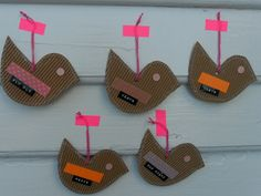 corrugated cardboard birds with zigzag stitched edgee, washi tape & tapewriter label wings