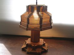 prison art from the 1950's | Vintage Tramp/Prison Art Popsicle Stick Lamp by StarlightMemories