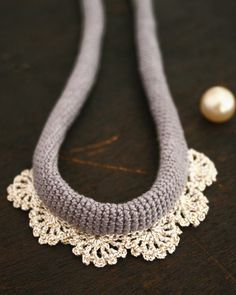 gray crochet lace necklace