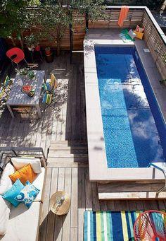Small Backyard Design, Small Pools, Small Backyard Landscaping, Backyard Patio, Kleiner Pool Design, Backyard Pool Designs, Backyard Ideas, Swimming Pools Backyard, Pool Houses