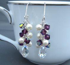 Bridesmaids Earrings Purple Crystal Pearl by CarlenaDesigns, $36.00