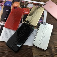 Luxury Streetwear Supreme Chrome Gold Hard Case Cover for iPhone 7 8 X Supreme Case, Iphone Accessories, 7 And 7, Apple Iphone 6, Toys For Boys, New Fashion, Iphone Cases, Plating, Personalized Items