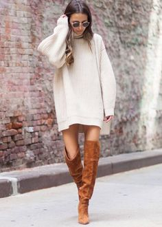 Oversized Sweater Dress | Thigh Hight Boots | Camel and Tan