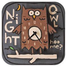 night owl wall clock crafted of natural birch plywood by modern moose Owl Clock, 3d Wall Clock, Wall Desk, Wooden Owl, Wooden Clock, Clock For Kids, Kids Clocks, Anniversary Clock, Owl Kids