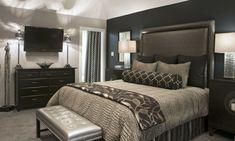schlafzimmer grau dunkelgraur akzentwand schöne beleuchtung