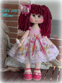 Fabric Doll Pattern, Fabric Dolls, Bead Embroidery Jewelry, Beaded Embroidery, Doll Hair, Beautiful Dolls, Homemade, Toys, Creative