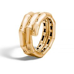 John Hardy Bamboo 18K Gold Double-Coil Ring ($2,340) ❤ liked on Polyvore featuring jewelry, rings, yellow gold rings, 18 karat gold ring, 18k ring, stackable rings and yellow gold band ring