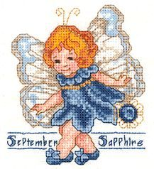 Toddler Birthstone Fairy September Sapphire Cross Stitch Pattern 1/5