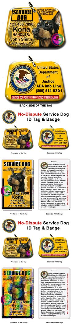 Tags and Charms 177790: Service Dog Pet Photo Id Tag Custom Badge-Tag Yellow Ada Personalized Ada Tag -> BUY IT NOW ONLY: $37.95 on eBay!
