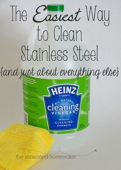 Cleaning with Vinegar I've tried everything to get my stainless steel appliances clean. Then I discovered cleaning vinegar and a microfiber cloth. Easiest way to Clean with Vinegar - The Seasoned Homemaker Household Cleaning Tips, Cleaning Recipes, Deep Cleaning, Spring Cleaning, Cleaning Hacks, Cleaning Vinegar, Cleaning Supplies, Household Products, Diy Hacks