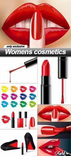Женская косметика, губы, лак для ногтей, помада в векторе. Womens cosmetics